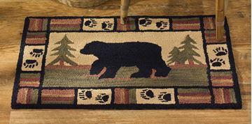 "Picture of Adirondack Bear Hooked Rug Rectangle 24"" X 36"""