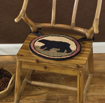 Picture of Adirondack Bear Hooked Chair Pad