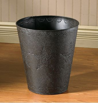 Picture of Punched Tin Star In Black Waste Basket