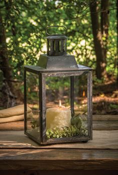 Picture of Antique Zinc Square Lantern with Glass lantern For Pillar