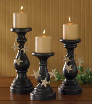 Picture of Blackstone With Stars Pedestal Candle Holder For Pillar - Set Of 3
