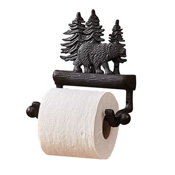 Picture of Cast Black Bear Toilet Tissue Holder - Wall Mount