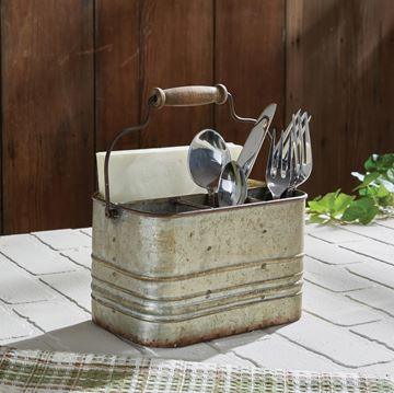 Picture of Rustic Metal Utensil / Napkin Caddy With Swivel Wooden Handle