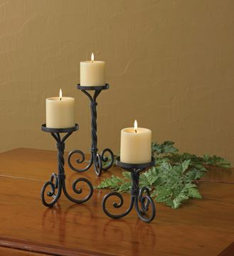 Picture of Forged Iron Scroll Pedestal Candle Holder For Pillar - Set Of 3