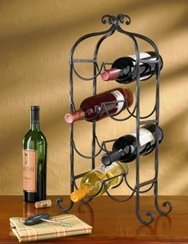 Picture of Forged Iron Scroll Wine Rack - 8 Bottles