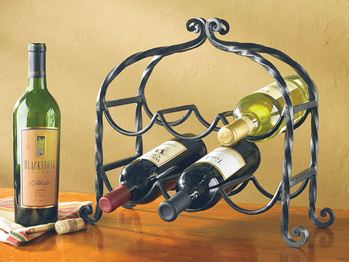 Picture of Forged Iron Scroll Wine Rack - 6 Bottles