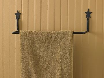 "Picture of Forged Iron Star Towel Bar 16"" Long"