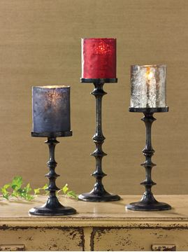 Picture of Black Oxidized Pedestal Candle Holder For Pillar - Set Of 3