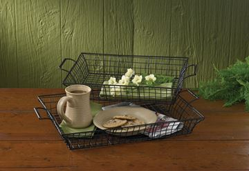 Picture of Black Wire Serving Tray - Set Of 2