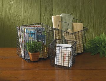 Picture of Wire Storage Basket With Metal Handles - Set Of 3