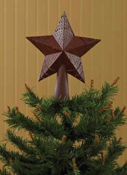 Picture of Star In Red Embossed Metal Tree Topper Small