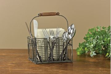 Picture of Vintage Wire Utensil Utensil / Napkin Caddy With Swivel Wooden Handle