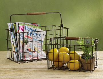 Picture of Wire Storage Basket With Wooden Swivel Handle - Set Of 2