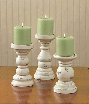 Picture of Southport In Cream Short Pedestal Candle Holder For Pillar - Set Of 3