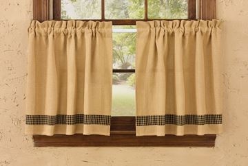 "Picture of Burlap & Check In Black Tier Pair 24"" Long Unlined"