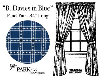 "Picture of B Davies In Blue Panel Pair With Ties 84"" Long Unlined"