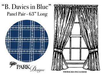 "Picture of B Davies In Blue Panel Pair With Ties 63"" Long Unlined"