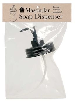Picture of Black Soap / Lotion Dispenser Lid / Pump Replacement Fits Mason Jar