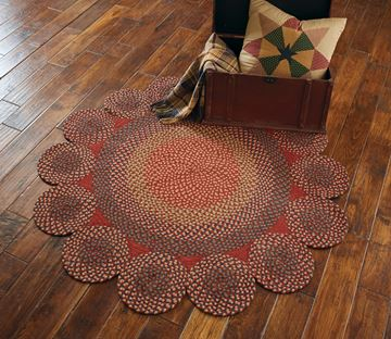 "Picture of Circle Circles Braided Rug 54"" Diameter Round"