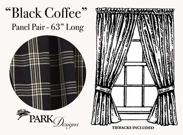 "Picture of Black Coffee Panel Pair With Ties 63"" Long Lined"