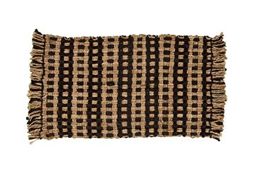 "Picture of Basketweave In Black & Natural Jute Rug Rectangle 24"" X 36"""