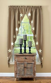 "Picture of Taupe & Star romantic Swag Pair 63"" Long Lined"