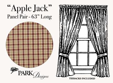 "Picture of Apple Jack Panel Pair With Ties 63"" Long Unlined"