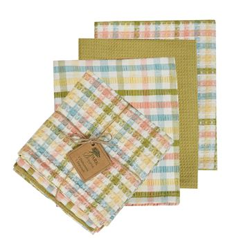 Picture of Beatrice Seersucker Dishtowel & Dishcloth Set - 3 Towels & 1 Cloth