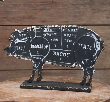 Picture of Butcher's Pork Chart Sign - Embossed Metal