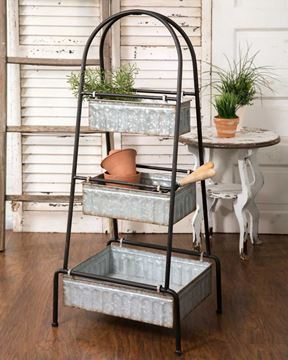 Picture of Galvanized Metal Floor Stand For Display & Serving - 3 Tier