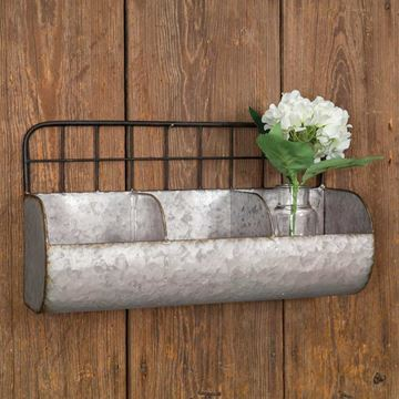 Picture of Galvanized Metal & Wire Back Divided Wall Pocket / Bin Large