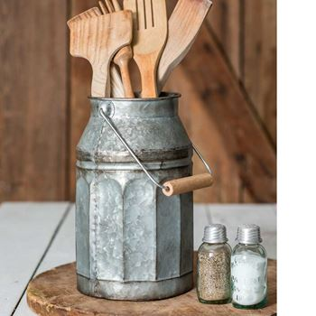 Picture of Galvanized Metal Milk Pail With Wooden Handle