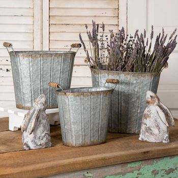 Picture of Galvanized Metal Tapered Pail Oval With Wooden Handles - Set of 3