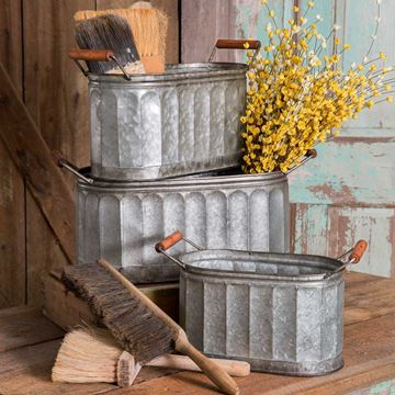 Picture of Corrugated Galvanized Metal Pail / Bucket Oval With Wooden Handles - Set Of 3