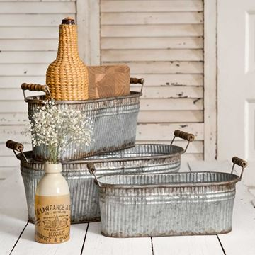 Picture of Galvanized Metal Rustic Bin Pail / Bucket Oblong With Wooden Handles - Set Of 3