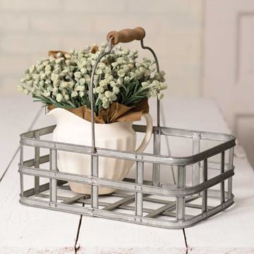 Picture of Galvanized Metal Market Basket Rectangular With Wooden Handle