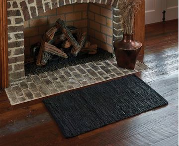 "Picture of Black Leather Leather Rug Rectangle 24"" X 38"""