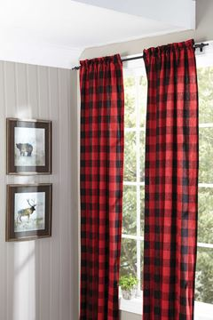"Picture of Buffalo Check Panel Pair With Ties 84"" Long Lined"
