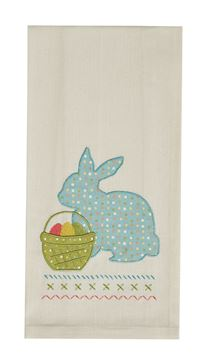 Picture of Beatrice Seersucker Bunny & Basket Decorative Towel