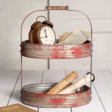 Picture of Red Painted Metal Stand For Display & Serving With Wooden Handle - 2 Tier