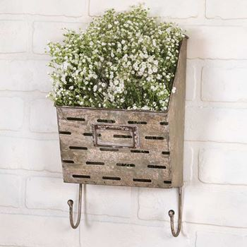 Picture of Galvanized Metal Perforated Wall Pocket / Bin With Hooks