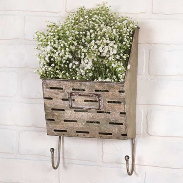 Picture of Galvanized Metal Perforated Caddy Wall Pocket / Bin With Hooks