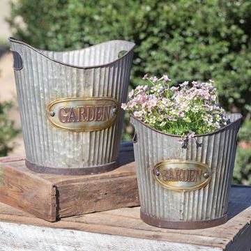 Picture of Galvanized Metal Corrugated Garden Pail - Set Of 2