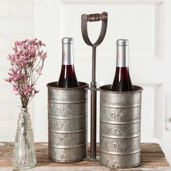 Picture of Galvanized Metal Double Wine Bottle Caddy With Handle