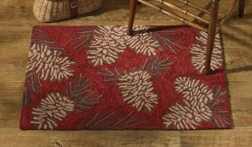 "Picture of Pinecone Hooked Rug Rectangle 24"" X 36"""