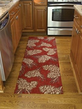 "Picture of Pinecone Hooked Rug Runner 24"" X 72"""