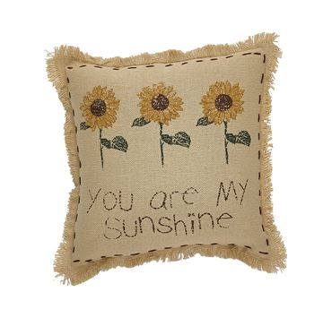 "Picture of Sunflower Blooms You Are My Sunshine Pillow 10"" Square"