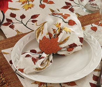 Picture of Fall Leaves & Wheat Napkin