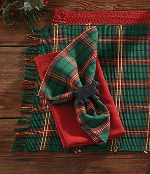 Picture of Boughs of Holly Plaid Napkin