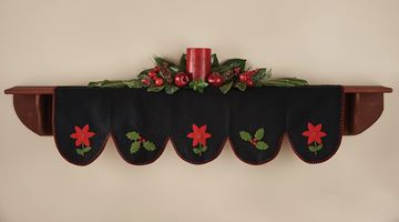 Picture of Yuletide Holly Poinsettia Mantle Scarf  / Valance